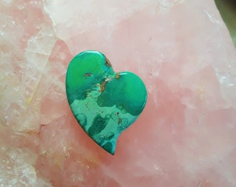 Green Hachita Turquoise Medium Heart Cabochon/ backed