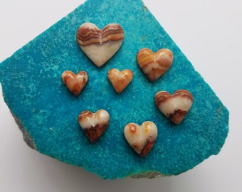 Banded Strawberry Marble Small Heart Cabochon set of 7/ backed
