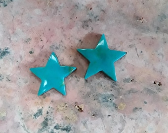 Small Blue Gem Turquoise Star Cabochon Set of 2/ backed
