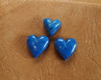 Small Dark Lapis Lazuli Heart Cabochon Trio/ backed