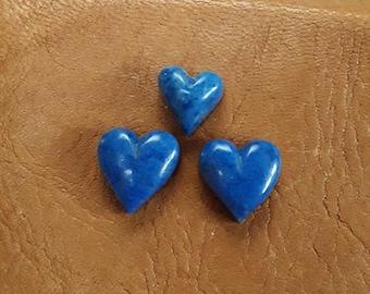Small Dark Lapis Lazuli Heart Cabochon Trio/ backed