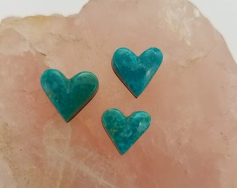 Blue Green Small Sonora Turquoise Heart Cabochon Trio/ backed