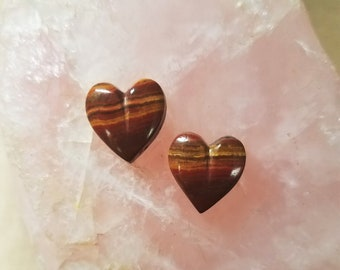 Small Blood Red, Orange and Brown Banded Onyx Heart Cabochons/ backed