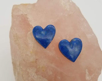 Dark Blue Medium Small Lapis Lazuli Heart Cabochon Pair/ backed