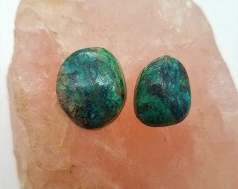 Dark Blue & Green Azurite Malachite Freeform Oval Cabcohons/ backed