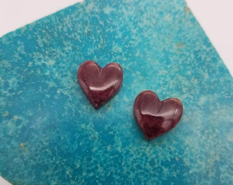 Dark Purple Small Spiny Oyster Shell Heart Cabochon Pair/ backed