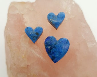 Dark Blue Lapis Lazuli Heart Small & Medium Cabochon Trio/ backed