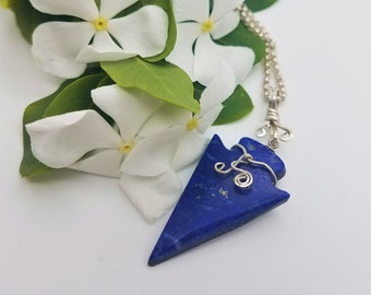 Dark Blue Lapis Lazuli Medium Arrowhead Pendant with Sterling Silve Wire Wrapping/ backed