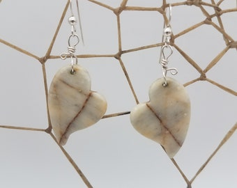 White Marble Banded Panamint Crying Hearts Earrings with Sterling Silver French Earwire