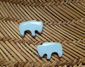 Small White Magnesite Buffalo Cabochon Pair/ backed