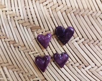 Small Purple Spiny Oyster Shell Heart Cabochon/ Set of 4/ backed