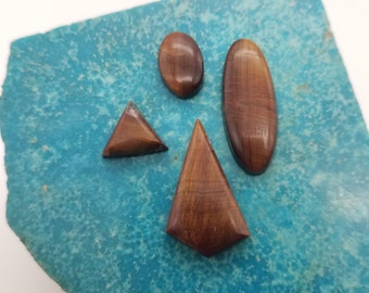 Tigerseye Oval Triangle and Diamond Cabochons/ backed