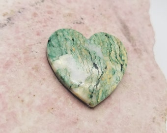 Green, White & Yellow Mariposite Large Heart Cabochon/ backed