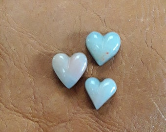 Small White Marble Heart Cabochon Trio/ backed
