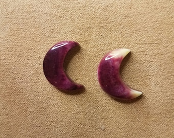 Purple and White Spiny Oyster Shell Crescent Moon Cabochon Pair/ backed