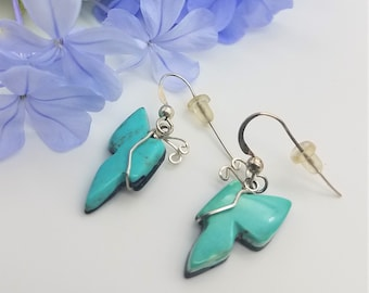 Light Blue Sleeping Beauty Turquoise Small Butterfly Earrings with Sterling Silver French Earwires
