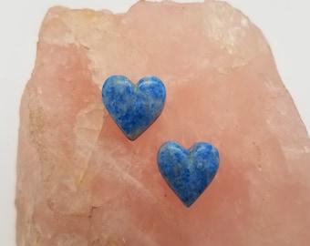 Light Blue Denim Lapis Lazuli Small Heart Cabochon Pair/ backed