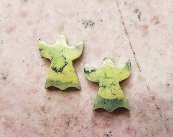 Yellow Green Antique Verde Small Angel Pair Cabochons/ Victorville, California