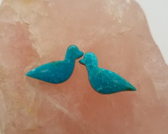 Blue Sonora Turquoise Small Nesting Bird Cabochon Pair/ backed