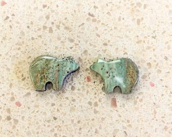 25 % OFF Green & Brown Picasso Marble Small Bear Cabochon Pair/ backed