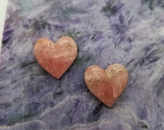Pink Rhodochrosite Small Heart Cabochon Pair/ backed