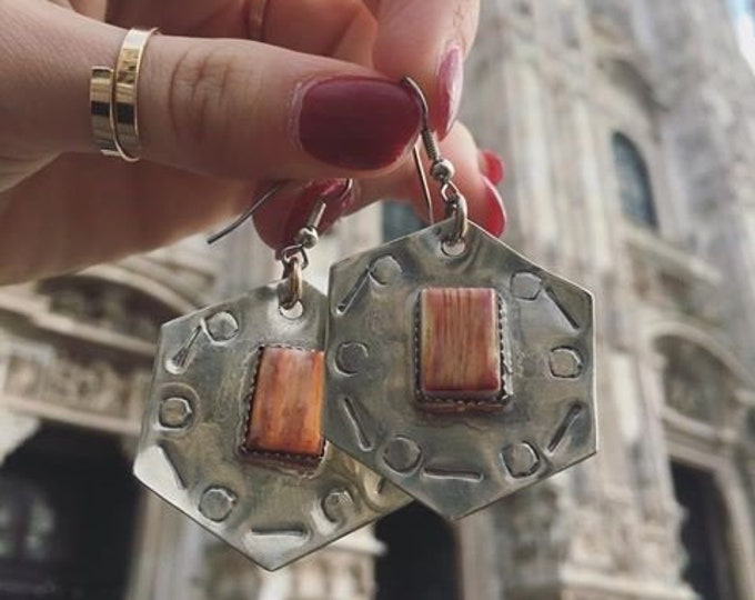 Featured listing image: Orange Spiny Oyster Shell & German Silver Hexagon Dangle Earrings