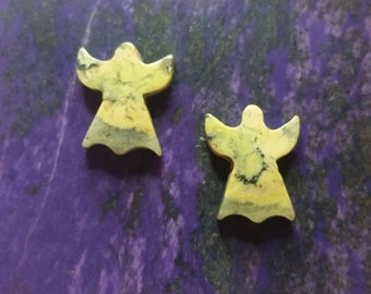 Antique Verde Light Green Angel Cabochon Pair/ backed