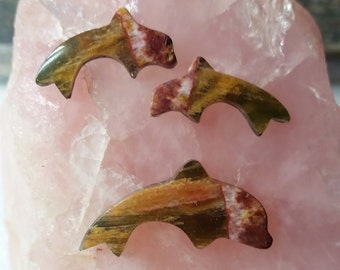 Rainbow Marble Dolphin Medium & Small Cabochon Set/ backed set of 3