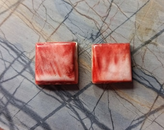 Red and White Spiny Oyster Shell Square Cabochon Pair/ backed