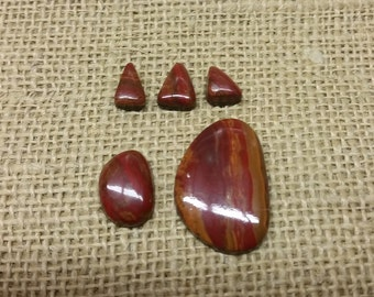 Red Blood Onyx Oval & Triangle Cabochons/ backed set of 5