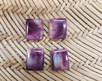Purple and Orange Spiny Oyster Shell Square Cabochon Set of 4/ backed