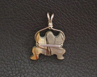 Picasso Marble Frog Pendant/ sterling silver wrapped