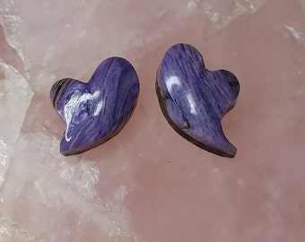 Purple Charite Heart Cabochons Pair/ backed