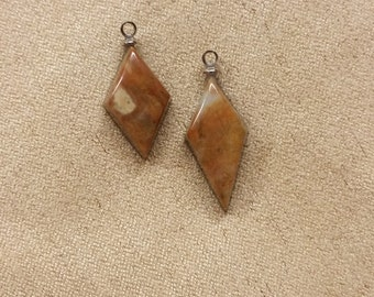 Orange Brown Picasso Marble Small Diamond Cabochon set/ backed with sterling silver eyehooks