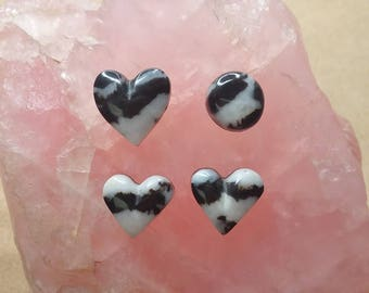 Zebra Marble Heart & Oval Cabochon Set/ backed