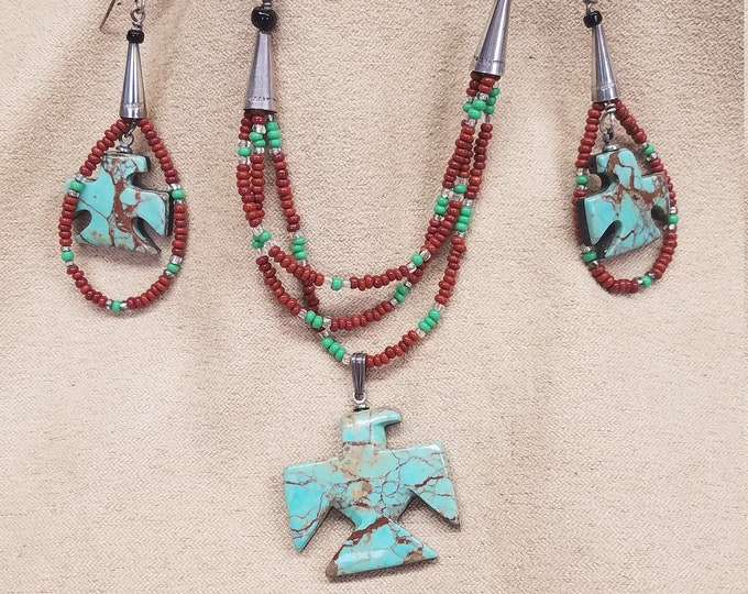 Featured listing image: Hachita Turquoise Thunderbird Necklace & Earring Set with red/green seed bead strands, leather cord with hook clasp