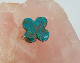 Green Sonora Turquoise Fourleaf Clover Medium Cabochon/ backed