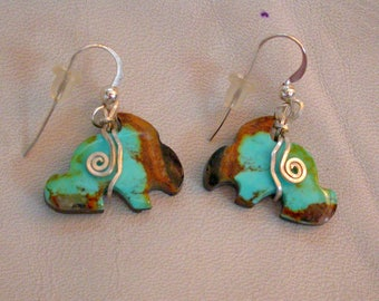 Blue Green Turquoise Rabbit Earrings/ sterling silver findings/ Pilot Mountain