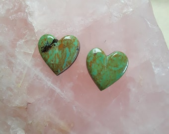 Small Green Pilot Mountain Turquoise Heart Cabochon Pair / backed