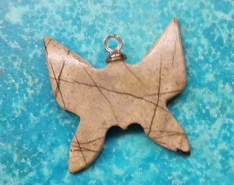 Beige Brown-Lined Picasso Marble Butterfly Small Cabochon/ backed with sterling eyehook