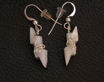 White Marble Lightning Bolt Earrings Set/ sterling silver wrapped