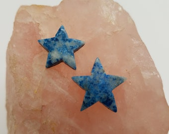 Light Blue Denim Lapis Lazuli Medium & Small Star Cabochons/ backed