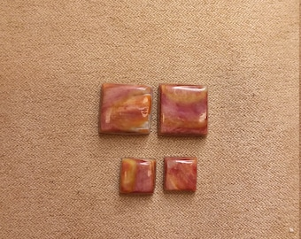 Orange & Purple Square Spiny Oyster Shell Cabochons/ backed/