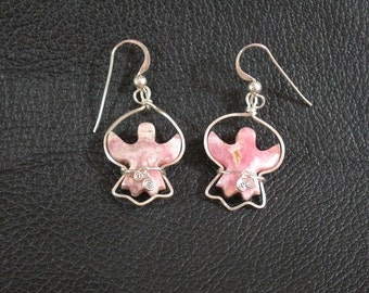 Pink Rhodocrosite Angel Earrings wire wrapped in Sterling Silver & with French Earwires