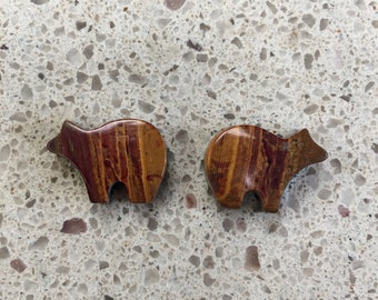 Brown & Red Onyx Bear Cabochon Pair/ backed