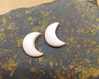 Small White Shell Crescent Moon Cabochon Pair/ backed