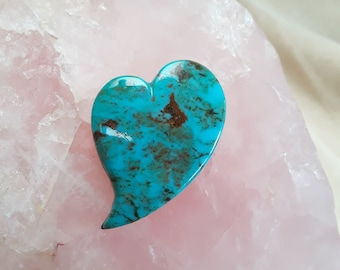 Blue Green Pilot Mountain Turquoise Large Heart Cabochon/ backed