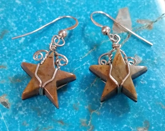 Picasso Marble Star Earrings/ Orange Brown/Sterling Silver Findings/