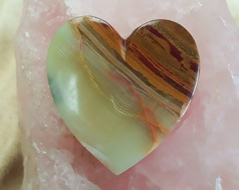 Large Brown, White & Red Heart Onyx Cabochon/ backed