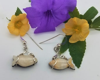 White Marble Fish Earrings with Sterling Silver French Earwires & Sterling Silver Wire wrap